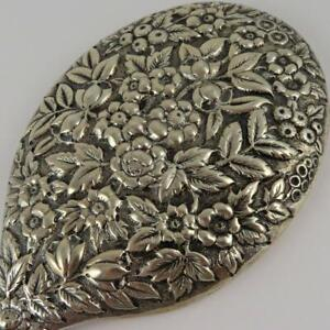 ANTIQUE BLACK STARR & FROST FLORAL REPOUSSE STERLING SILVER VANITY HAND MIRROR