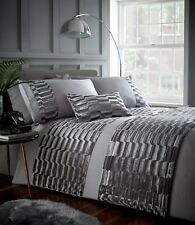 KING SIZE DUVET COVER SET LUXURY CRUSHED VELVET MURRAY STONE SILVER GREY STYLE
