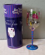 "Hand Painted ""Save Water Drink Wine"" Wine Glass in Box"