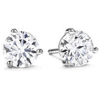 .50Ct Round Brilliant Cut Natural Diamond Stud Earrings 14K Gold Push Back Marti