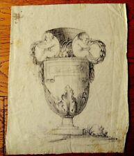 Dessin ancien époque 18ème - Vase à décor d'angelots et de feuilles d'acanthe