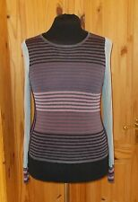 PER UNA pale blue purple brown mauve striped long sleeve jumper sweater top 18