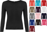 New Ladies Plus Size Long Sleeve T-shirt Womens Jersey Stretch Plain Top 16-20