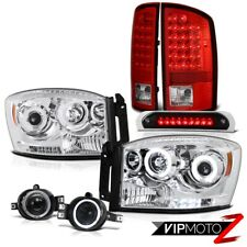 07 08 Ram V8 Quality Headlight CCFL DRL Red LED Tail Light Fog Black Third Brake