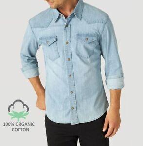WRANGLER    Men Long Sleeve Snap Button 2 Pocket Denim Cotton Shirt - Light Blue