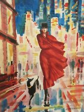 "ERIK FREYMAN- ""LADY IN RED""  ORIGINAL WATERCOLOR - SMALL 9"" X 7"" PAPER BEAUTIFUL"