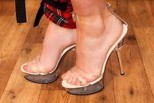 PLEASER ALLURE-665 clear perspex diamante stripper pole dancer heels