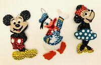 VTG Bucilla Sequin Felt Handmade Mickey Minnie Donald Duck Christmas Ornaments