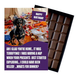 Dachshund Birthday Card for Dog Lover Gift Idea 100g Chocolate Bar Him Her UK