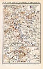 Belagerung von Belfort Kämpfe an der Lisaine Lizaine 1870/71   Landkarte 1895