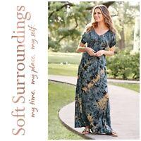 New Soft Surroundings Berkely Indigo Blue Tie Dye Knit Maxi Dress Sz M NWOT