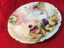 "Limoges J. P. L France 9.5"" plate hand painted Blackberry signed And Dated 1900"