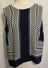 COUNTRY ROAD ~ Blue Navy Ivory Geometric Print Sleeveless Viscose  Dressy Top L