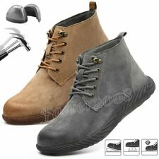 Mens Leather Work Safety Indestructible Shoes Steel Toe Waterproof Midsole Boots