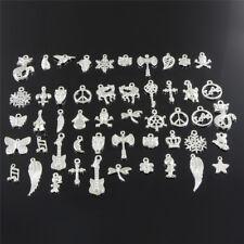 Wholesale Retro Silver 50pcs Bulk Lots Mix Charm Pendants Jewelry DIY