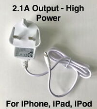 High Power 2.1A Mains Charger UK Plug Lightning Connector for iPhone iPod iPad