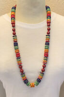 VTG Colorful Wood Necklace Signed Miriam Haskell Lucite Cherry Amber Gold Strand