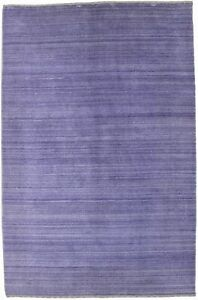 Solid Hand Loomed Modern Purple 4X6 Gabbeh Area Rug Oriental Home Carpet New