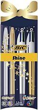 BIC 4 Color Brillo Cristal retráctil Bolígrafo Conjunto de Navidad Oro Plata
