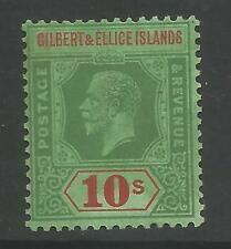 GILBERT & ELLIS ISLANDS SG35  1924 GV 10/- GREEN&RED/emerald FRESH MNH CAT £160