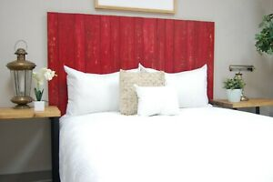 Red Headboard Weathered, Hanger Style, Handcrafted. Mounts on Wall.