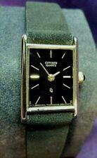 Serviced-Citizen Quartz~Black Dial Gold Plated Womens Tank Rectangle Watch