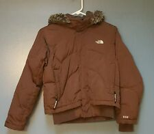 The North Face Brown Jacket Coat Puffer With Hood 550 Down Girls Large 14/16