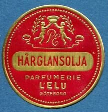 Advertisement Original Seal Label A53 Gold MNH Hair Oil Perfumery L`ELU Goteborg