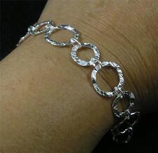 "Hammered .925 Sterling Silver Round Link Chain Bracelet 7 1/2"" 14mm 11mm"