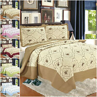3 Piece Quilted Bedspread Bed Throw Single Double King Size Floral Bedding Set