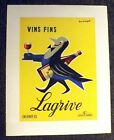 RARE C.1955 GUY GEORGET VINS FINS LAGRIVE LINEN BACKED POSTER ~WOW~
