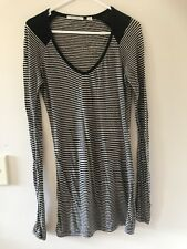 🎈 COUNTRY ROAD black White Fine Striped Long Jumper Knit Top Tunic Sz S