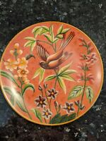 "Raymond Waites Toyo Trading Hand Painted 10"" Bird Flowers Plate Gold Decor"
