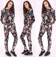 Woman Ladies Floral Print Top & Bottom Long Sleevees Lounge Wear Tracksuit Dress
