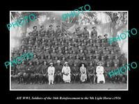 OLD POSTCARD SIZE PHOTO OF WWI AUST ANZAC 9th LIGHT HORSE 16th R/I GROUP c1916