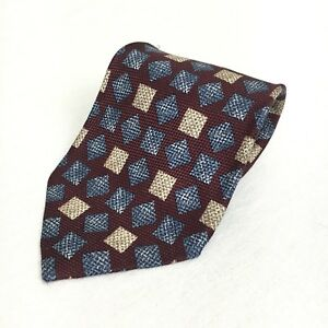 Claiborne Multi Color Squares 100% Silk Men's Neck Tie Made In The USA