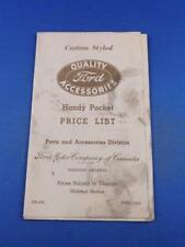 1953 FORD CUSTOM STYLED QUALITY ACCESSORIES HANDY POCKET PRICE LIST CAR TRUCK