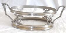 """Vtg Silver Tone Metal Royal Rochester Oval Casserole Stand 7.75"""" x 5.5""""x3""""H 1325"""