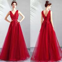Noble Abendkleider Cocktailkleid Ballkleider Bestickt Rot Lang Kleider TSJY1712