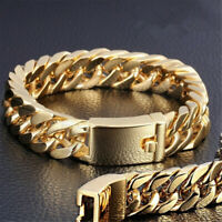 Fashion Mens Gold Plated Jewelry Alloy Curb Cuban Chain Bracelet Charm Jewelry