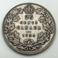 1934 Canada Twenty Five 25 Cents Quarter Circulated Canadian Coin D172