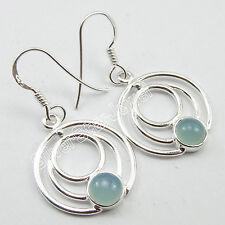 "Latest Fashion Model Jewelry, 92.5 Silver AQUA CHALCEDONY Spiral Earrings 1.4"""