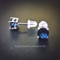 Feine Blaue Zirkonia Solitär Ohrstecker 925 Silber rhodiniert 6 mm