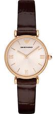 Armani  AR1911  Rose Gold / Brown Leather Analog Quartz Women's Watch