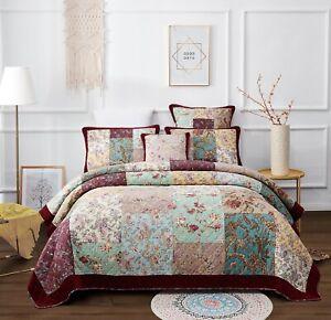 DaDa Bedding Old World Patchwork Burgundy Velvet Red Border Floral Bedspread Set