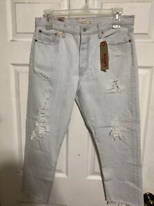 Levi's Wedgie Straight Light Wash Distressed High Rise Button Fly Jean Womens 32