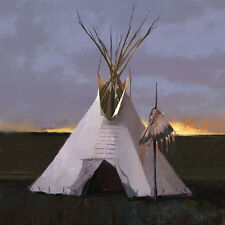 R. Tom Gilleon HEAD DRESS LODGE, Tipi, Native American, giclee canvas #3/50