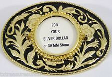 BELT BUCKLES metal western USA accessories floral SILVER DOLLAR COIN BUCKLE NWOT