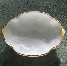 Vintage Milk Glass Bowl Serving Dish with Gold Rim & Embossed Grape Clusters