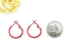 """Trendy Dark Red Round Hoop Earrings (Small 0.75"""")"""